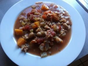 Sweet potato turkey minestrone soup