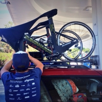 Matt getting our bikes ready for the long drive